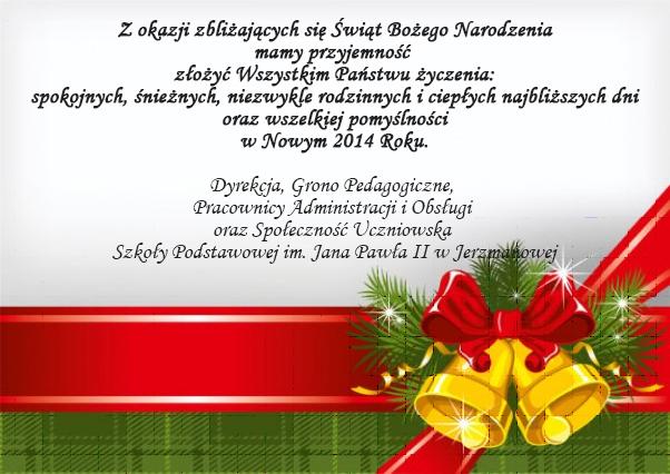 Życzenia świąteczne 2013